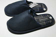 Mens Velvety Mule Slippers Slip On Luxury Mules Navy UK Size 7 - 12