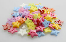 50 Star Shaped Mixed Colour Buttons - 12mm x 12mm