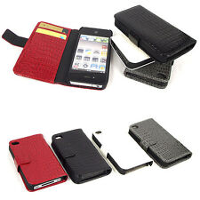 Crocodile Leather Wallet Flip Case Folio Cover For Apple iPhone 4 4S 4G