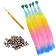 Lot 20'' Rainbow Colorful Synthetic Hair I Tip Feather Hair Extensions Free Tool