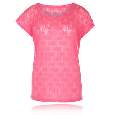 Pure Lime Burnout Logo Womens Pink Wicking Short Sleeve Gym T Shirt Tee Top