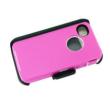 NEW iPhone 4/4s Defender Cover Case w/Clip&Build in Screen Protector Pink White