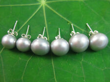 925 sterling silver GREY Real FRESHWATER PEARL Studs earrings size7-8-9-10-11mm