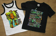 Boys T Shirt Tank Set Two Pack Teenage Mutant Ninja Turtles Sizes 2 3 4 TMNT NEW