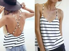 Sexy Womens Waistcoat Vest Sleeveless Backless Camisole Blouse Crop Tops Striped
