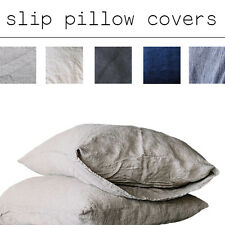 Natural Gray Set of Two Linen PILLOWCASES 100% Pure Flax Slip in Queen King