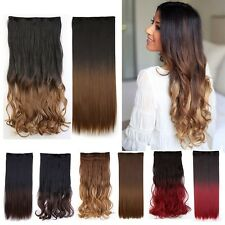 100% Real Ombre Hair 3/4 Full Head Clip in on Hair Extension Natural as Human G2