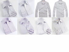 Mens Classic Color Stripe Dress Shirt Wrinkle-Free Cotton Long Sleeve & Send Tie