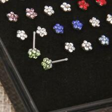 Wholesale 24pcs Crystal Nose Ring Bone Stud Surgical Steel Body Piercing Jewelry