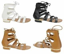New Womens Ladies Ankle High Gladiator Flat Sandals Summer Shoes Size Size 3-8