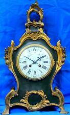 ANTIQUE FRENCH A.D MOUGIN 8 DAY ROCOCO GREEN BOULLE TYPE MANTLE CLOCK