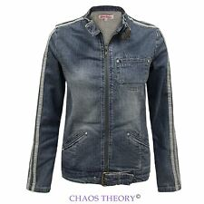 Ladies Womens Vintage Denim Biker Style Jeans Stretch Zipped Coat Jacket Top
