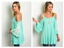 BOHO MINT GREEN TUNIC W/COLD SHOULDER CUT OUTS & CROCHET TRIM (S, M)