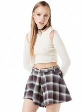 NEW UNIF Ladies TY White Tartan Grunge Schoolgirl Punk Rock Skorts