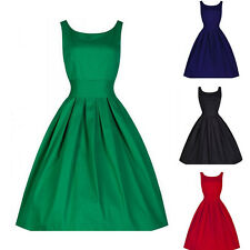 Ladies Women Prom Neck Ruffle Sleeveless Waist Party Scoop Cinched Dress