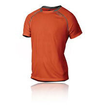 2XU Tech Vent Mens Red Orange Short Sleeve Crew Neck Running T Shirt Tee Top