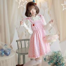 2016 Girl's Lolita Pink Check Dress Lovely Summer Suspender Skirt Strawberry New