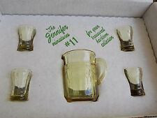 Mosser Glass Jennifer #11 Gold Krystal Water Pitcher 4 Tumblers Miniature set
