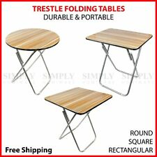 Round Folding Table Trestle Portable Tables Foldable Camping Picnic Dining Small