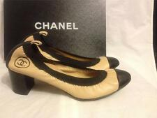 CHANEL Spirit Two Tone Stretch Leather Cap Toe Pumps Shoes Heel Beige Black $725