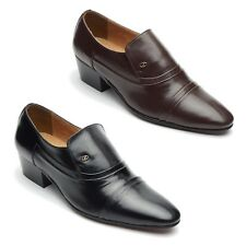 Mens Leather Cuban Heel Pointed Formal Wedding Slip On Shoes