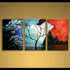 large hand painted oil painting on canvas abstract landscape sunset tree framed
