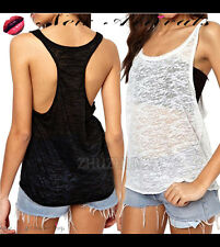 Women's Basic Loose Fit Sleeveless Racerback Tank Top T-shirt