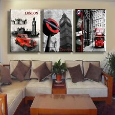 London City Scenery Bus Home Decor Art Painting Modern Picture Oil Canvas Wall