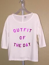 Girl's Old Navy White, Metallic Pink Outfit of the Day Shirt, Sizes, S, M, L, XL