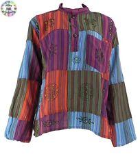 Gringo Cotton Patchwork Grandad Hippy Boho Shirt/Top Red,Green,Turquoise,Purple