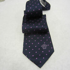 NWT VERSACE SAKS FIFTH AVENUE TIE DARK BLUE WITH DOTS SILK