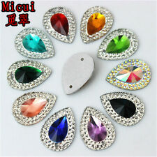 30PCS 13x18mm Resin Rhinestones Tear drop Flatback Beads Stone Sew On ZZ36