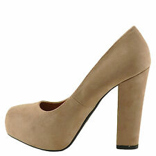 Qupid Trish 01 Taupe SU Women's Square Toe Chunky Heel Pump