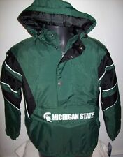 MICHIGAN STATE SPARTANS STARTER 1/2 ZIP Winter Jacket Removable Hoody M L XL 2X