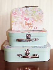 Set of 3 Shabby Chic Vintage Nested Floral Storage Boxes Suitcases Gift Box NEW