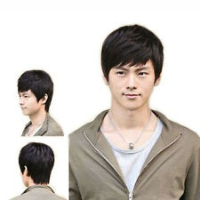 Fashion Handsome Boys Mens Male Short Layered Black Hair Wig Cosplay Wigs