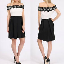 Sexy Ladies Womens Off Shoulder Lace Skater Skirt Tunic Evening Party Dress 8-18