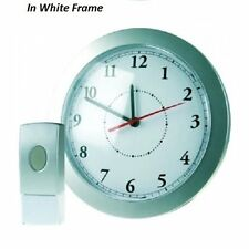 GREENWICH 25cm WALL CLOCK WHITE FRAME & 8 MELODY 75M WIRELESS DOOR BELL CHIME