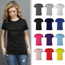 Womens Plain 100% Cotton T-shirt Blank Basic Women's Ladies Adults Tee | Size 6-