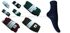 BOYS  GIRLS SIZE 12.5-3.5 COLOURED 75% COTTON SCHOOL ANKLE SOCKS 3-6-9-12 PAIRS