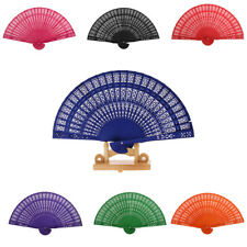 Wood Hollow Carved Foldable Pocket Hand Fan Women's Outdoor Handheld Accessories
