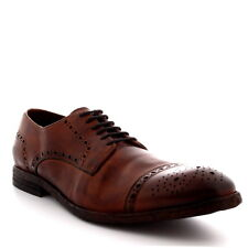 Mens H By Hudson Davern Drum Dye Smart Leather Brogues Work Tan Shoes US 7-13