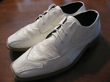 Stacy Adams SZ 7 M Faux Snake Skin Leather Ivory Lace Up Oxford Dress Shoes