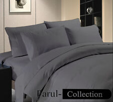 New 600-800-1000-1200TC Grey Solid 1000TC 100% Egyptian Cotton US Bedding Size