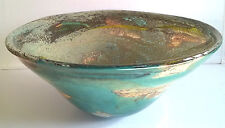 Large Heavy Mdina Glass Bowl Marbled Pattern Signed 11