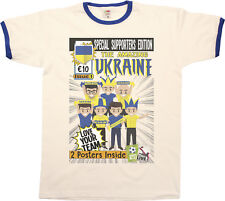 Mens Amazing UKRAINE Football Comic Ringer T-Shirt Retro Euro 2016