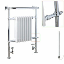Chrome and White Traditional Victorian Electric Radiator Towel Rail with Element