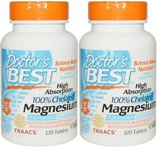 2 Doctors Best Magnesium, High Absorption, 100% Chelated, 240 Tablets Total