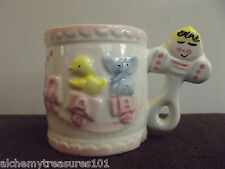 Unusual Vtg Ceramic Cup Baby Pacifier Handle Toy Train Elephant Duck.........30