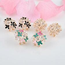 Fashion 1 pair Women Elegant Clover Flower Pearl Rhinestone Ear Stud Earrings XW